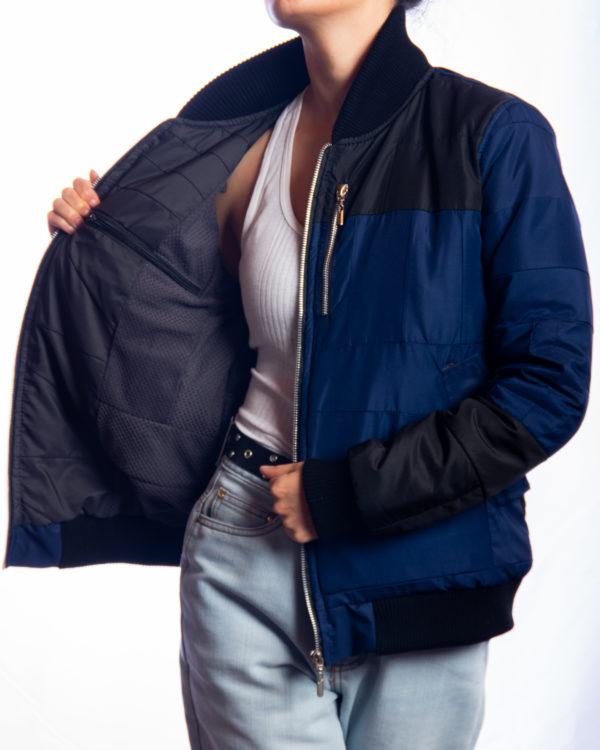 Chaqueta Bomber Azul Negro Residuo Textil Upcycling
