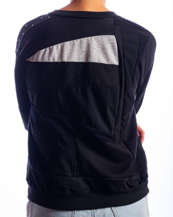 Saco Cuello Redondo Negro Residuo Textil Upcycling